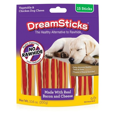 DreamBone Rawhide Free Dog Chews Bacon & Cheese Flavored Sticks 15pk