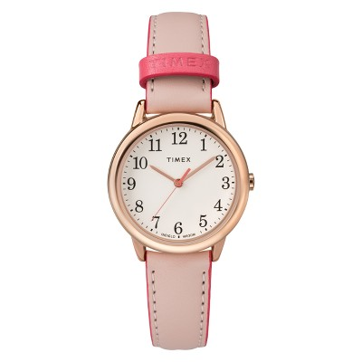 Women's Timex Easy Reader Watch with Leather Strap - Pink TW2R62800JT