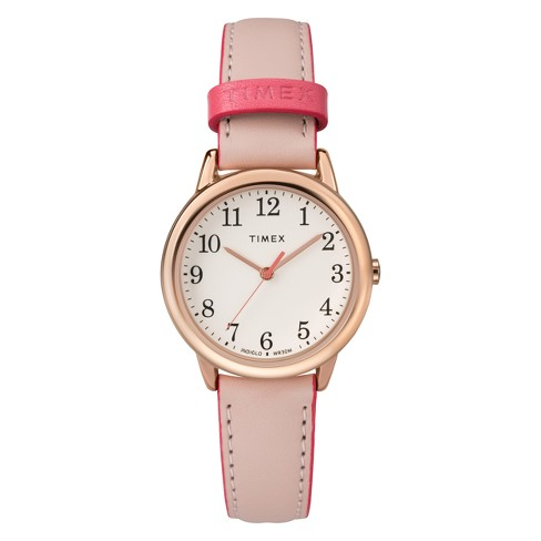 76706f15e Women's Timex Easy Reader Watch With Leather Strap - Pink TW2R62800JT :  Target