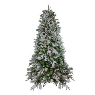Northlight 6.5' Prelit Artificial Christmas Tree Flocked Mixed Colorado Pine - Clear LED Lights