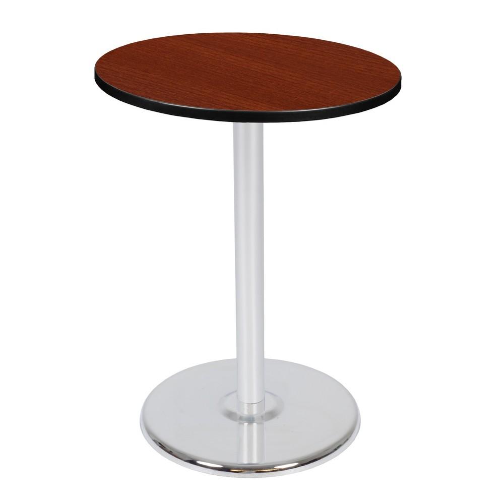 30 Via Cafe High Round Platter Base Table Cherry/Chrome (Red/Grey) - Regency