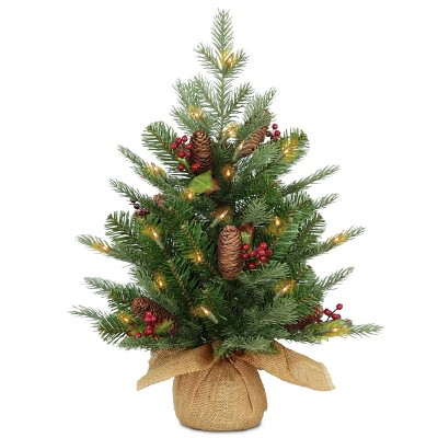 2ft National Tree Company Nordic Spruce Small Artificial Cones & Berries Tree 50ct LED Warm White