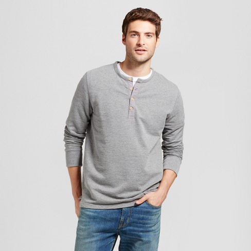 04dedb84e44 Men's Standard Fit Long Sleeve Micro-Waffle Henley Shirt - Goodfellow & Co™  Heather Gray M