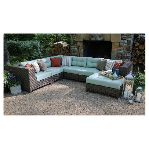 Dawson 7-Piece Sectional with Sunbrella Fabric Canvas - Spa - image 1 of 6
