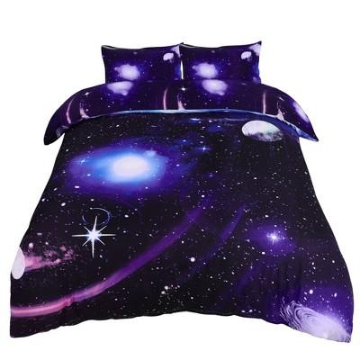 3 Pcs Polyester Galaxy Sky Cosmos Night Bedding Sets Queen Dark Purple - PiccoCasa