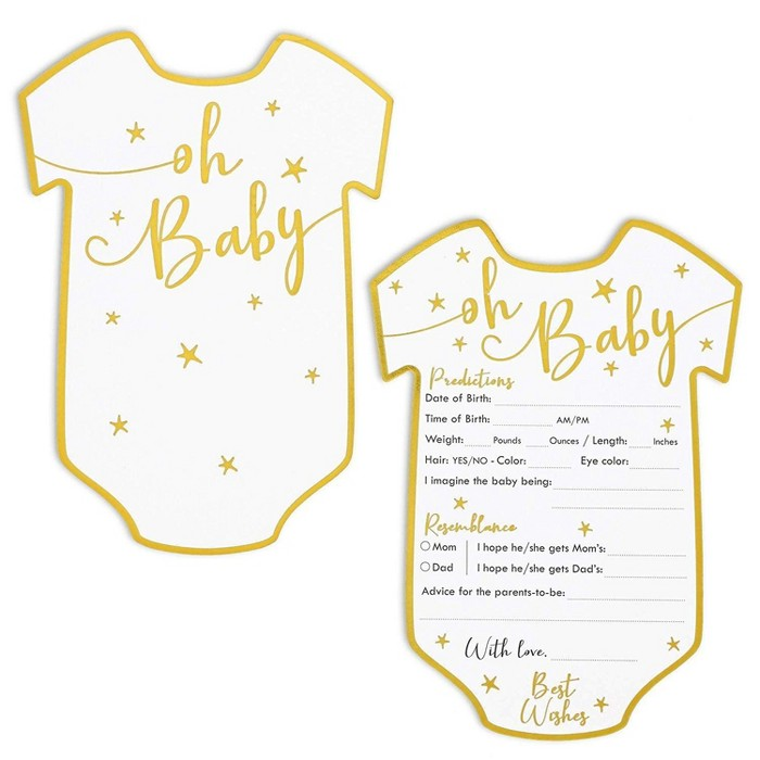 Set Of 50 Baby Predictions And Advice Cards For Shower Game Activity & Gender Reveal Party, Oh Baby Gold Stars Design : Target
