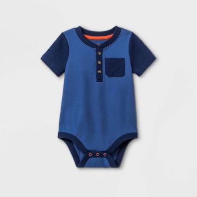 Baby Boys' Henley Pocket Short Sleeve Bodysuit - Cat & Jack™ Dusty Blue 18M