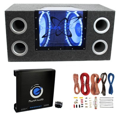 Pyramid BNPS122 12 inch 1200 Watt Car Bandpass Subwoofer and Sub Enclosure Box and Planet Audio AC1500.1M 1500 Watt Audio Amplifier with Wiring Kit
