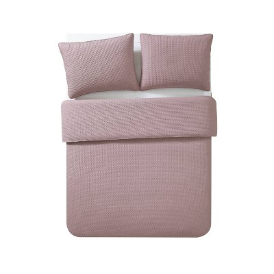 Full/Queen Waffle Pinsonic Quilt Set Mauve - VCNY Home