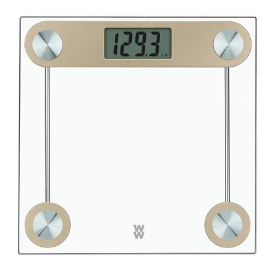 Gold Finish Glass Scale White - Weight Watchers