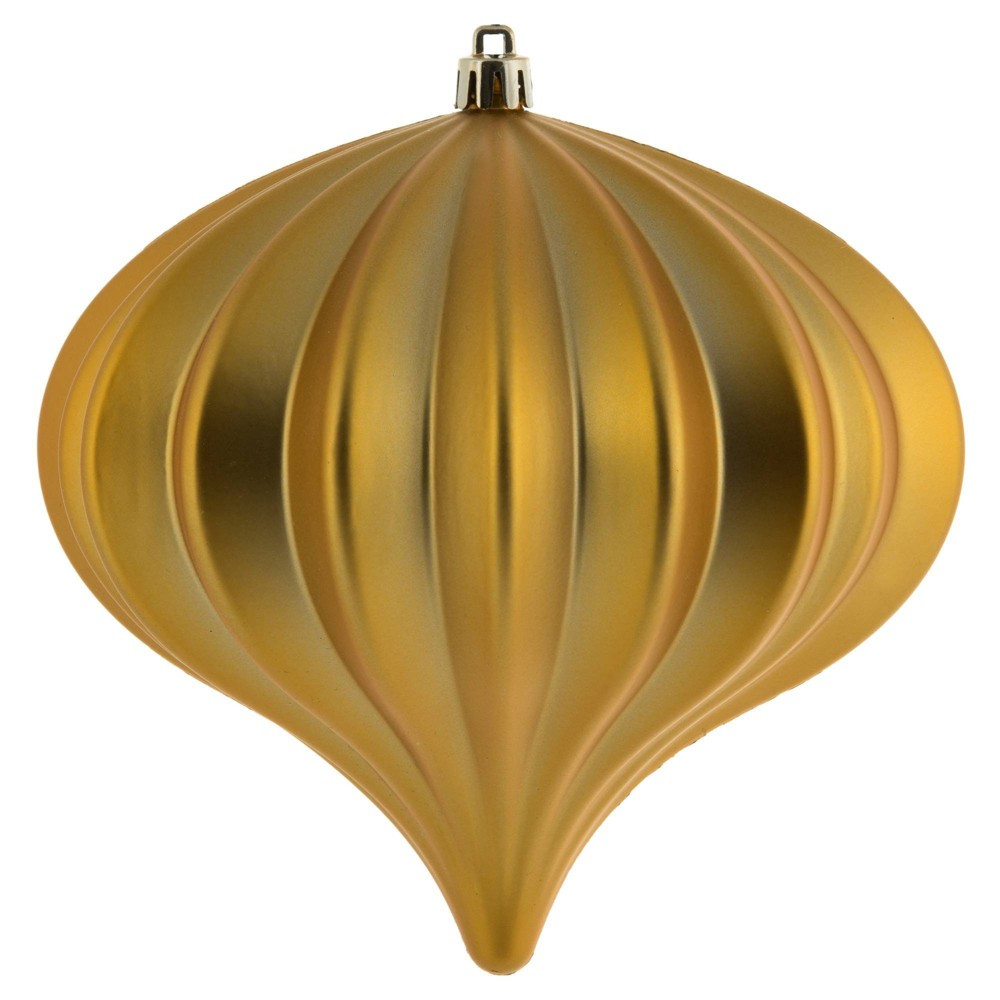 "Image of ""3ct Vickerman 5.7"""" Matte Onion Ornament, UV Coated Ornament Set Honey Gold"""