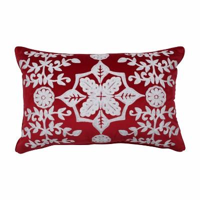 """11.5""""x18.5"""" Snowflakes & Berries Lumbar Throw Pillow - Pillow Perfect"""