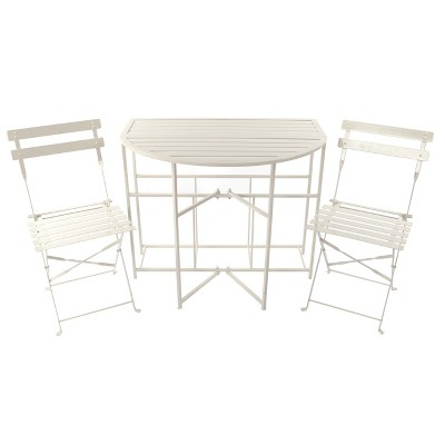 3pc Metal Half-Round Outdoor Folding Patio Balcony Bistro Set- White - Threshold™