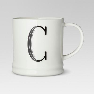 Monogrammed Porcelain Mug 15oz White with Black Letter C - Threshold™