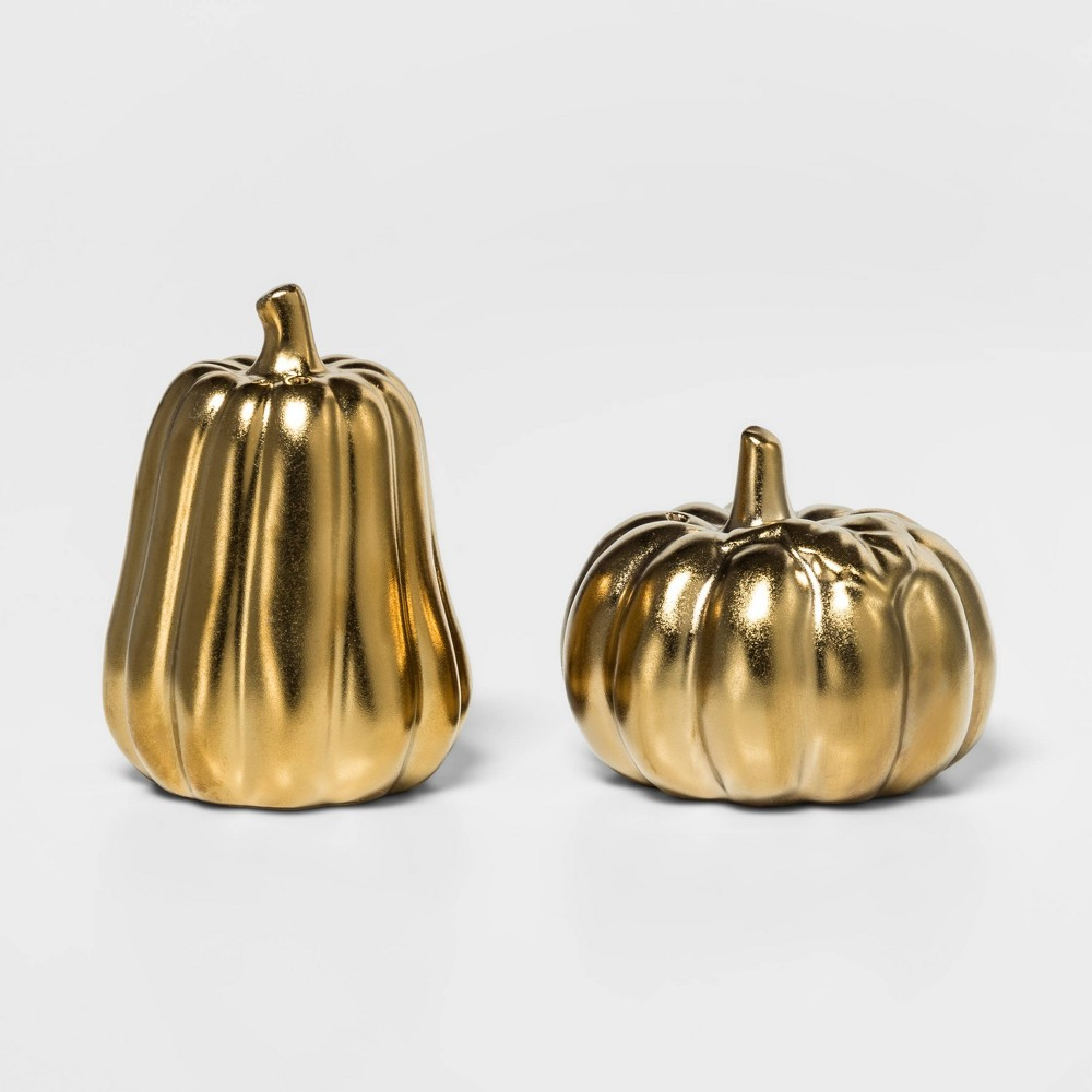 Image of 2pc Stoneware Pumpkin Salt and Pepper Shaker Set Gold - Threshold