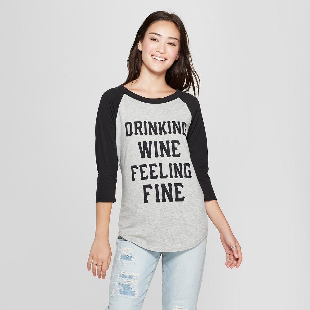Women's 3/4 Sleeve Drinking Wine Feeling Fine Raglan Graphic T-Shirt - Freeze Gray/Black XS, Black Gray