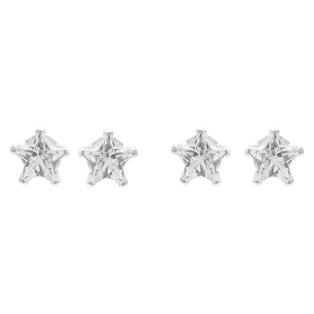 1 CT. T.W. Star-cut CZ Prong Set Stud Earrings Set in Sterling Silver - White/White, Girl's