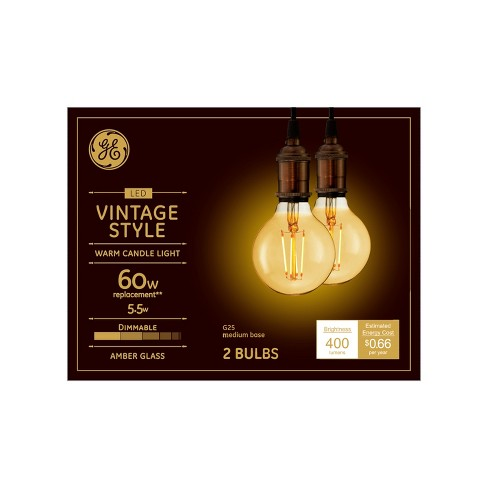 Vintage G25 Globe 60w Filament Amber 2pk LED Light Bulb White - General Electric - image 1 of 2