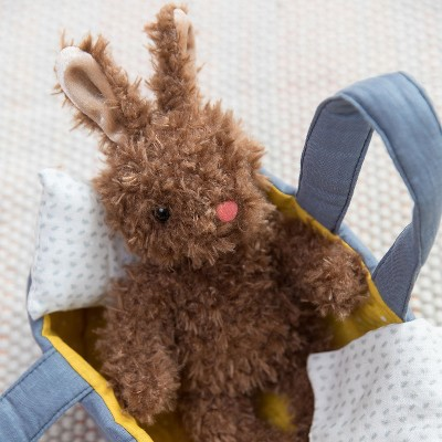 Manhattan Toy Moppettes Beau Bunny Stuffed Animal Nurturing Playset with Bunny Plush Toy, Fabric Bassinet, Blanket & Pillow