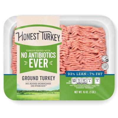 Honest Turkey No Antibiotics Ever 93/7 Ground Turkey - 1lb