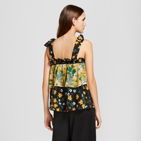 097b759af7f68 Women s Floral Print Flowy Tiered Tank Top - Who What Wear™ Yellow Black  XXL   Target