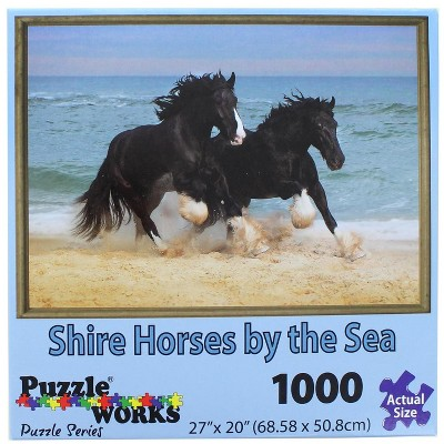 PuzzleWorks 1000 Piece Jigsaw Puzzle | Shire Horse By The Sea