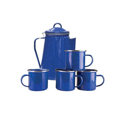 Stansport Enamel 8 Cup Coffee Pot With Percolator and 4 12oz Mugs Blue