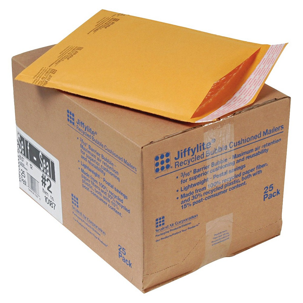 Image of Air Jiffylite 8.5in x 12in Self-Seal Mailer with Side Seam - Golden Brown (25 Per Carton)