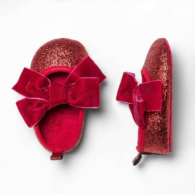 Baby Girls' Sparkle Mary Jane Flats - Cat & Jack™ Red 6-9M