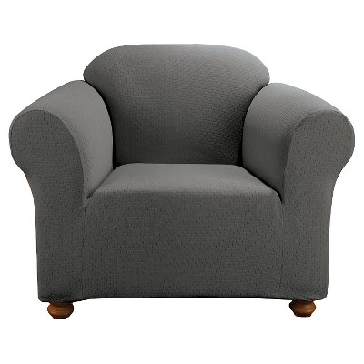Stretch Subway Chair Slipcover Carbon Gray - Sure Fit