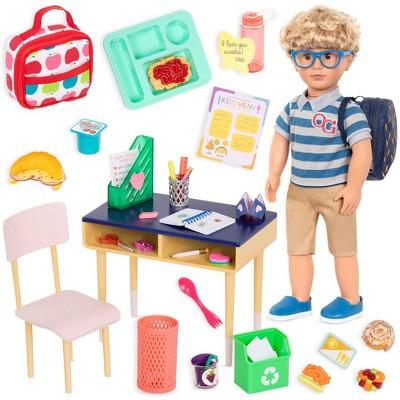 "Our Generation Leo & Brilliant Bureau Desk Accessory Set 18"" Boy Doll School Bundle"