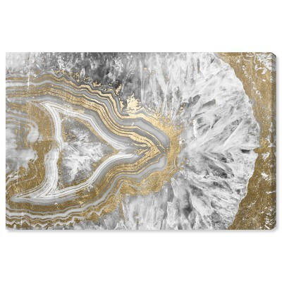 10 X 15 Agate Geode Crystal Abstract Unframed Canvas Wall Art In Gold Oliver Gal Target
