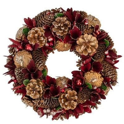 """Northlight 13"""" Unlit Ornaments with Glittered Pine Cone Red Floral Artificial Christmas Wreath"""