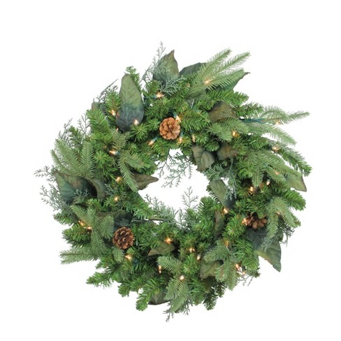 """Northlight 24"""" Prelit Mixed Winter Pine Artificial Christmas Wreath - Clear Lights - image 1 of 3"""