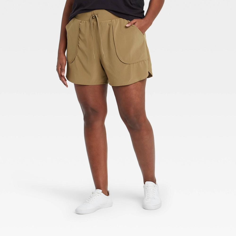 Women 39 S Plus Size Stretch Woven Shorts 4 34 All In Motion 8482 Light Olive 2x