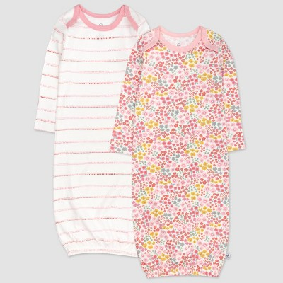 Honest Baby Girls' 2pk Organic Cotton Meadow Floral Sleeper Gown - Pink