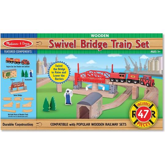 Melissa & Doug Swivel Bridge Wooden Train Set (47pc) image number null