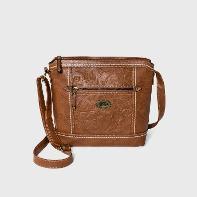 Concept Zip Closure Crossbody Bag - Brown