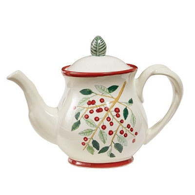 Park Designs Simply Holly Teapot - White