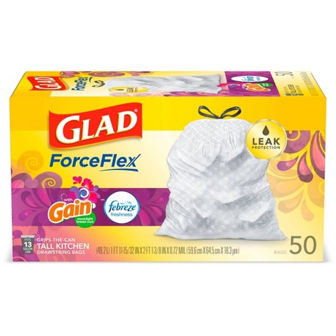Glad ForceFlex White Trash Bags Gain Moonlight Breeze Scent with Febreze Freshness 13 Gallon - image 1 of 4