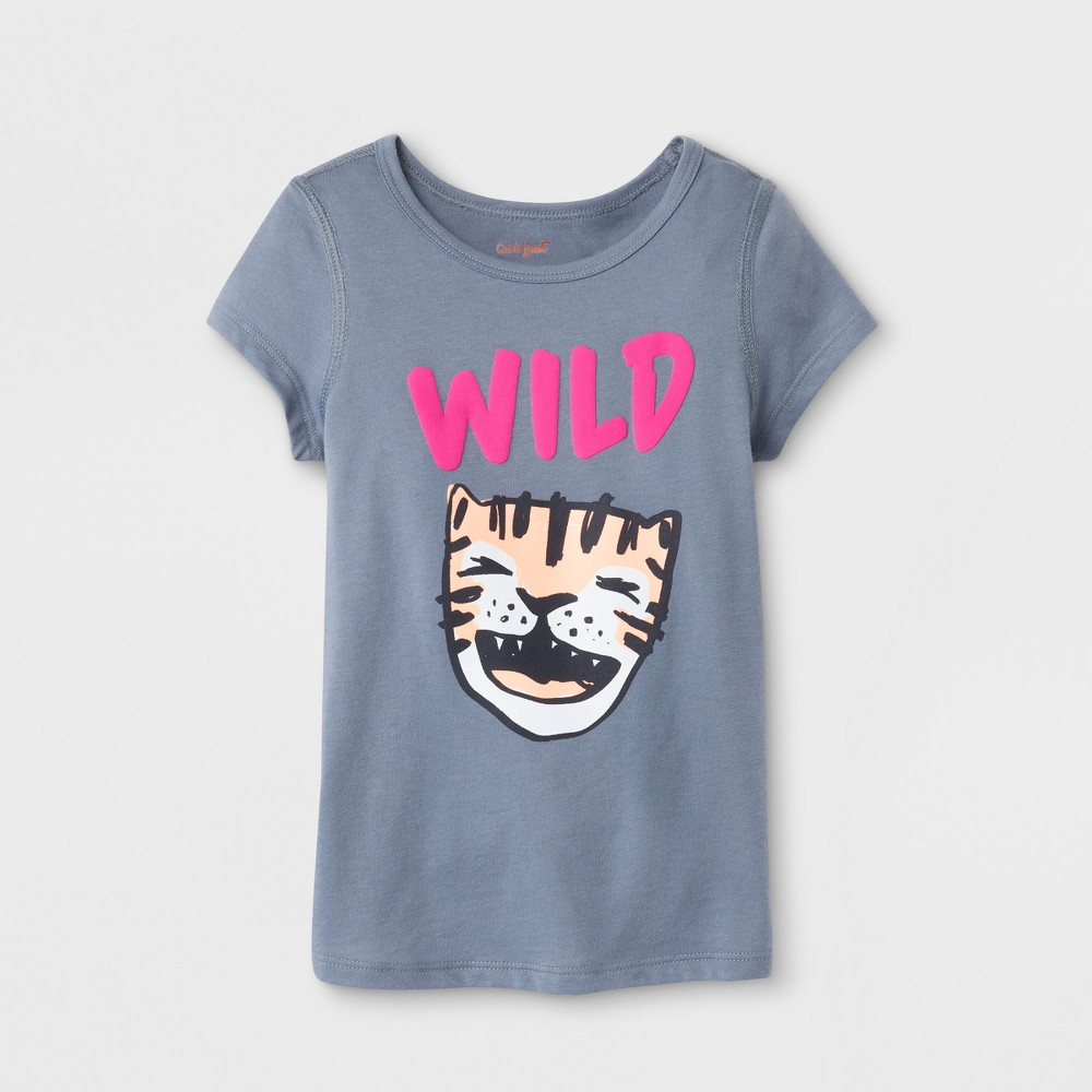 Toddler Girls' Adaptive Short Sleeve Wild Graphic T-shirt - Cat & Jack Gray 5T