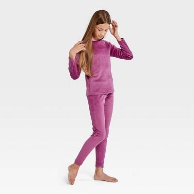 Wander by Hottotties Girls' 2pc Velour Thermal Underwear Set - Pink