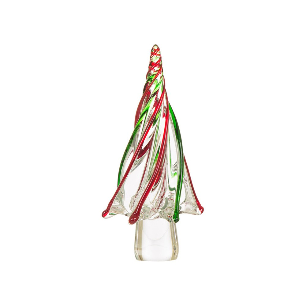"Image of ""12"""" Large Striped Glass Tabletop Christmas Tree - Glitzhome"""
