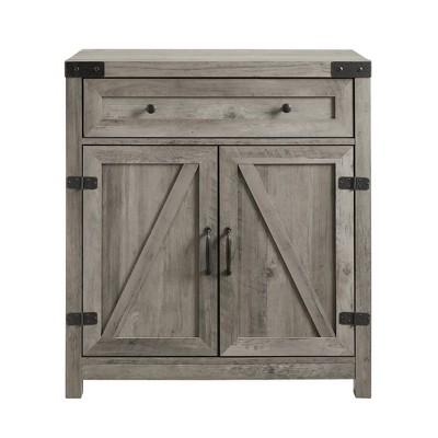 "30"" Farmhouse Barn Door Accent Cabinet Gray Wash - Saracina Home"