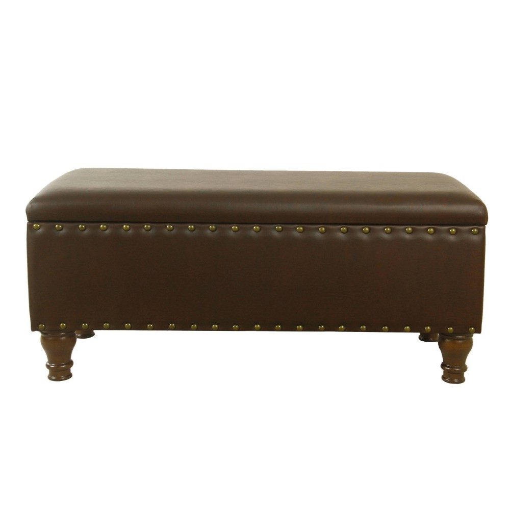 Large Storage Bench with Nailhead Trim Faux Leather Brown - HomePop was $199.99 now $149.99 (25.0% off)
