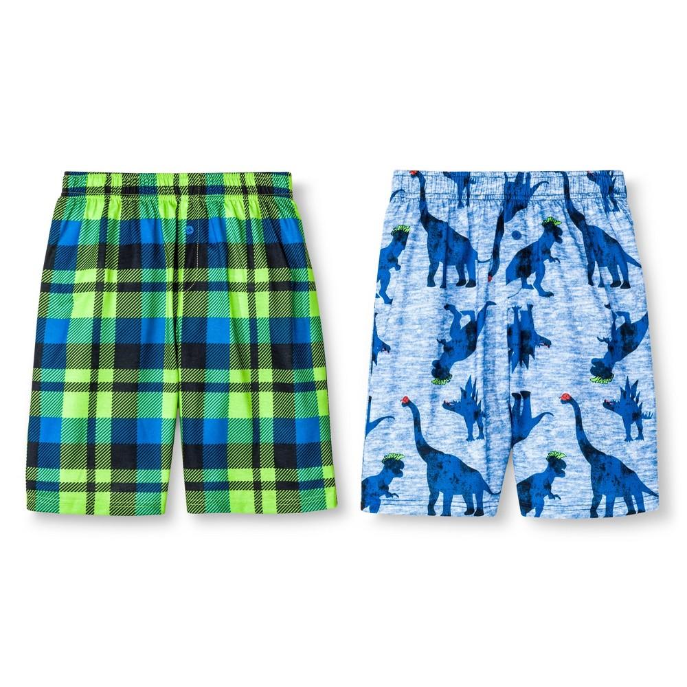 Boys' Dinosaur Plaid Pajama Shorts 2pk - Circo Blue L, Electric Blue