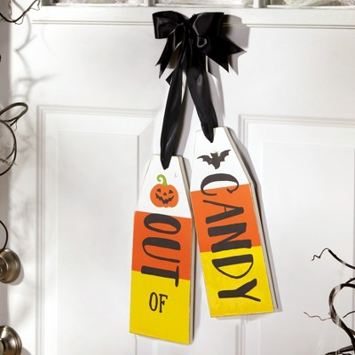 Lakeside Reversible Door Hanging Trick or Treat / Out of Candy Halloween Sign