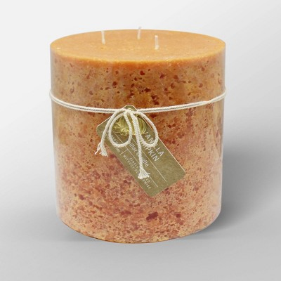 "6"" x 6"" Cold Pour Pillar 3-Wick Candle Pumpkin Spice - Threshold™"