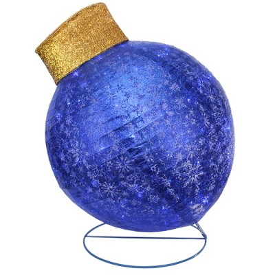 """Northlight 36"""" Blue LED Twinkling Glittered Christmas Ball Ornament Outdoor Yard Decor"""