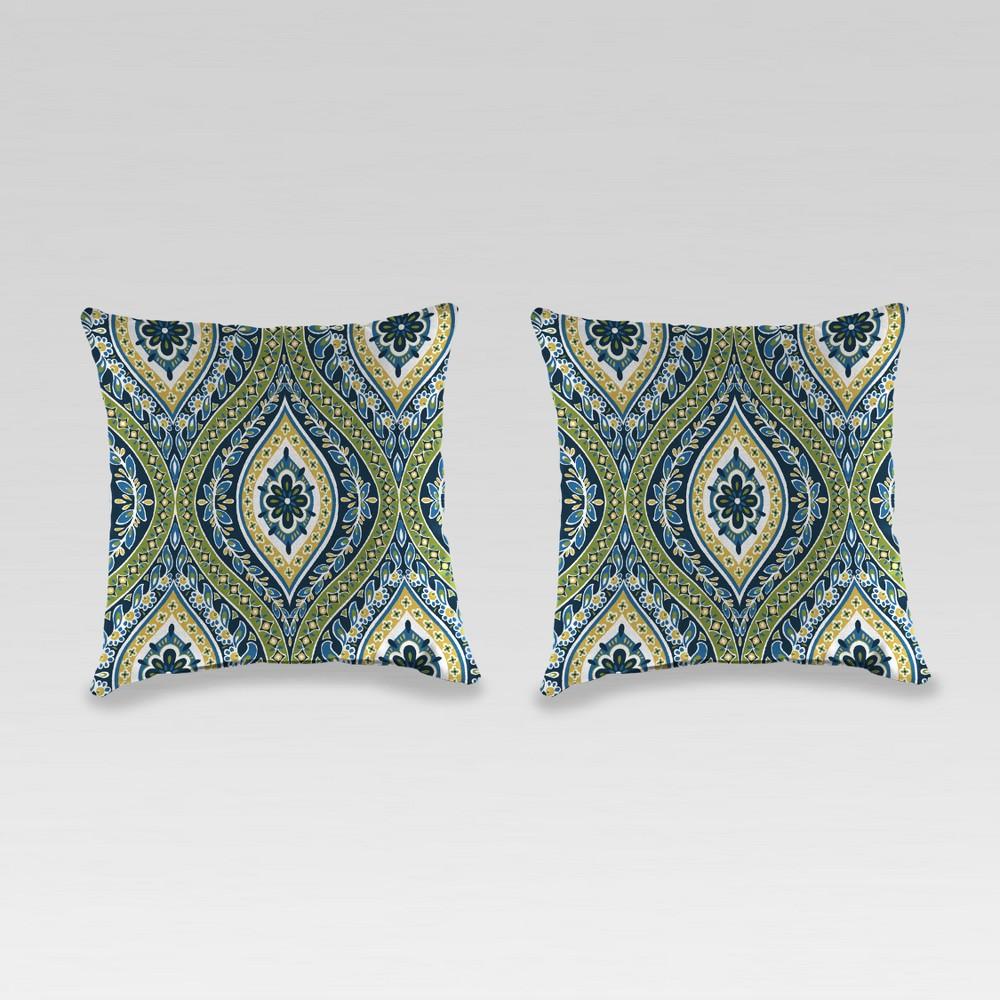 Outdoor Set of 2 Accessory Toss Pillows - Green Medallion - Jordan Manufacturing